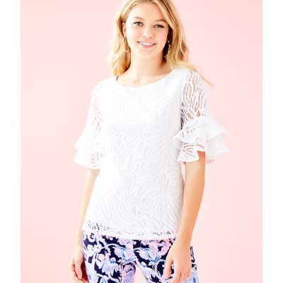 4b050b902dfd60 LULA TOP - RESORT WHITE SEA SWIRLING LACE - Lilly Pulitzer Store ...