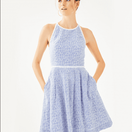 737a9ffd4b6d TORI DRESS – CREW BLUE TINT YARN DYE STRIPE FLORAL EYELET