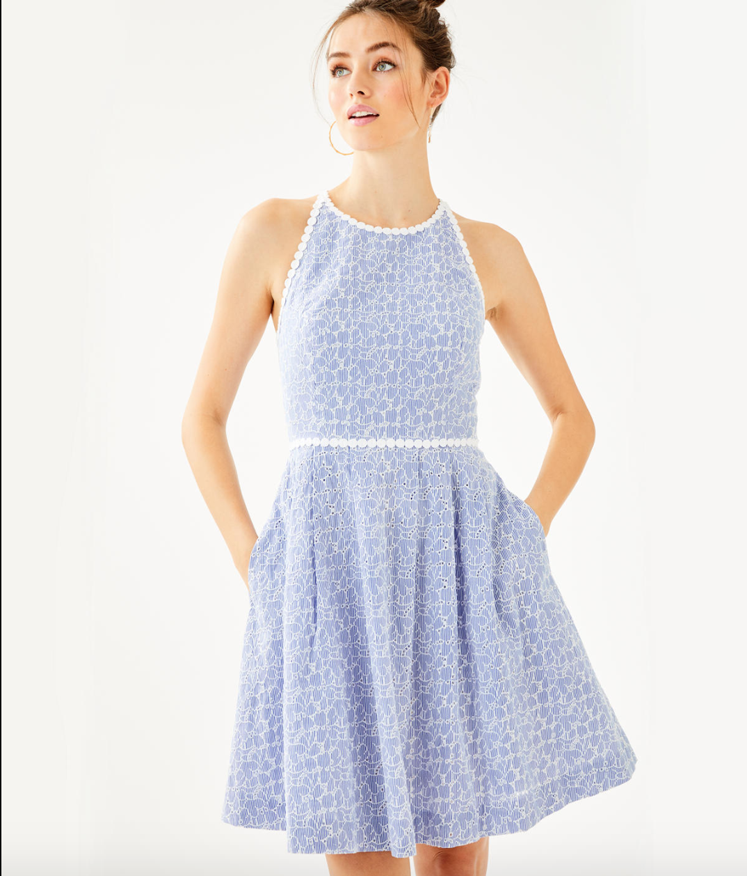 3345e3d8f1 TORI DRESS - CREW BLUE TINT YARN DYE STRIPE FLORAL EYELET - Lilly ...